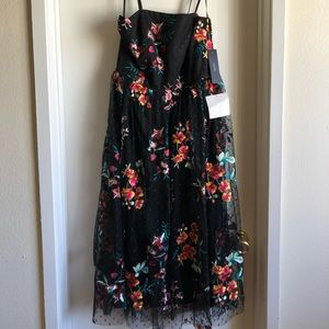 Black lace floral Lulu midi dress